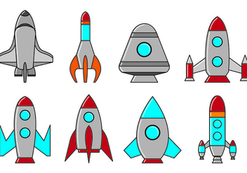 Set Of Starship Icons - Free vector #417489