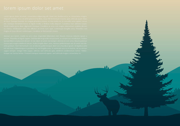 Sapin Tree and Deer - vector gratuit #417959
