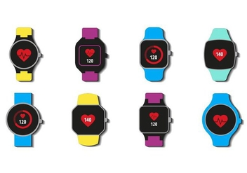 Free Smartwatch With Heart Rate Icons Vector - Free vector #417999
