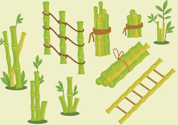 Green bamboo frame vector pack - Free vector #418179