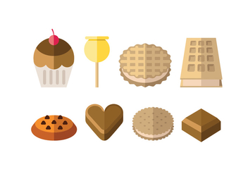 Sweet and dessert icons - vector #418519 gratis
