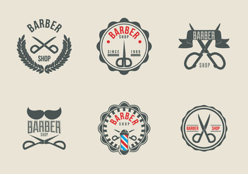 Scissors label barber shop logo vector - Free vector #418659