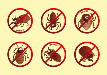 Anti bed bug label cartoon vector - Kostenloses vector #418789