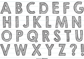 Cute Hand Drawn Alphabet - vector gratuit #418979