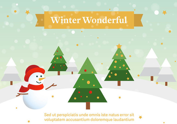 Free Vector Winter Landscape With Snowman - Kostenloses vector #419009
