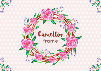 Free Vector Camellia Frame in Watercolor Style - бесплатный vector #419259