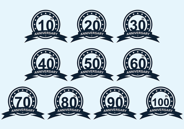 Anniversary Badge Vector Pack - vector #419319 gratis