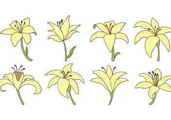 Set Of Easter Lily Icons - vector gratuit #419379