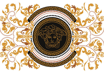 Modern Border Vector Illustration Versace Style with Gold Vintage Greek Key - Free vector #419489