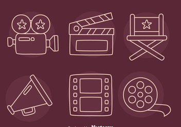 Film Element Line Icons Vector - Free vector #419839