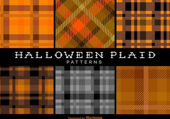 Halloween Trendy Plaid Patterns Vector Backgrounds - Free vector #419929