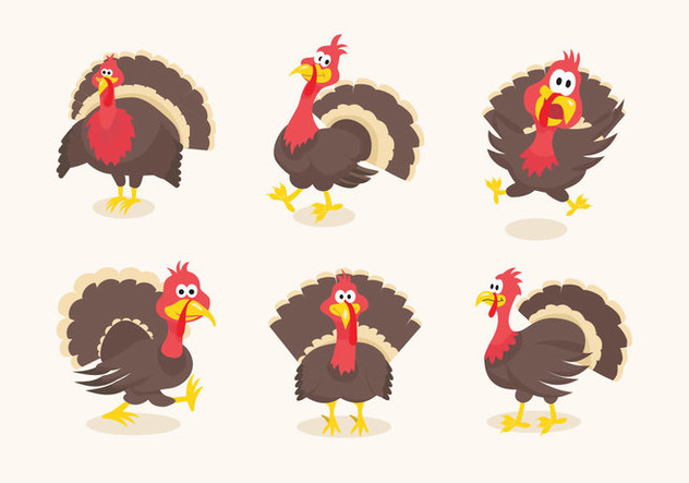 Wild turkey funny cartoon illustration - vector gratuit #420019