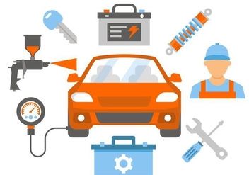 Free Car Repair and Service Vector Illustration - vector gratuit #420219