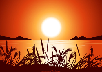 Free Vector Sunset Seascape Illustration - Free vector #420249