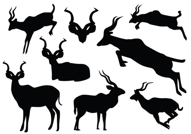 Jumping Kudu Silhouette - Free vector #420269