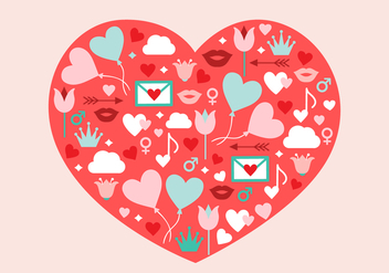 Free Valentine's Day Vector Heart Illustration - Free vector #420289