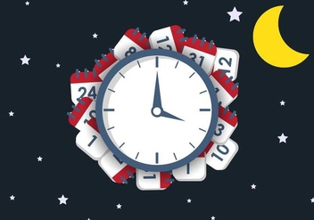 Night Deadline Vector Illustration - Free vector #420299