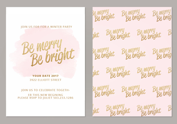 Be Merry Be Bright Vector Winter Cards - Kostenloses vector #420309