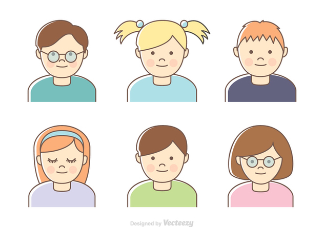 Free Kids Vector Headshots - vector #420409 gratis