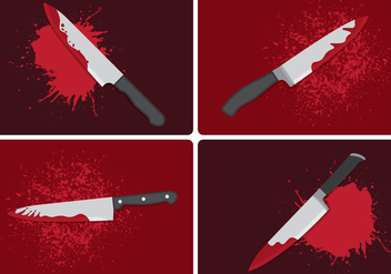 Bloody Knife Crime Concept - Free vector #420689