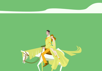 Couple With White Blonde Horse Illustration - Free vector #420789