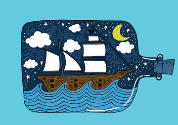 Hand Drawn Ship in a Bottle Vector - Free vector #421109