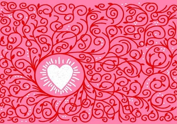 Heart and Vine Border Vector - vector #421119 gratis