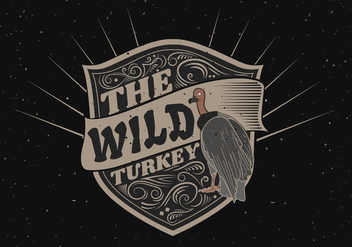 Wild turkey silhouette logo label illustration - Free vector #421129