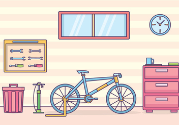 Bicycle Workshop Illustration - бесплатный vector #421309
