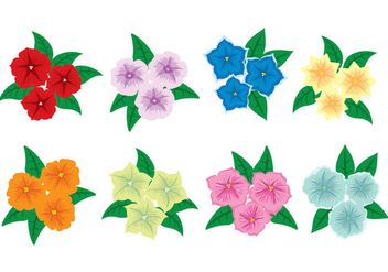 Petunia Flower Icons - vector gratuit #421339