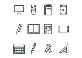 Outlined School Icons - vector #421349 gratis