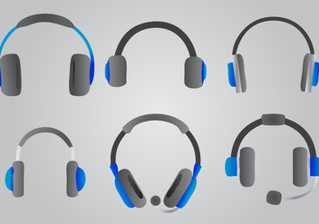 Blue Headphone Vector Set - vector gratuit #421379