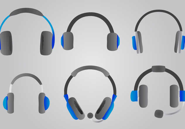 Blue Headphone Vector Set - Free vector #421379