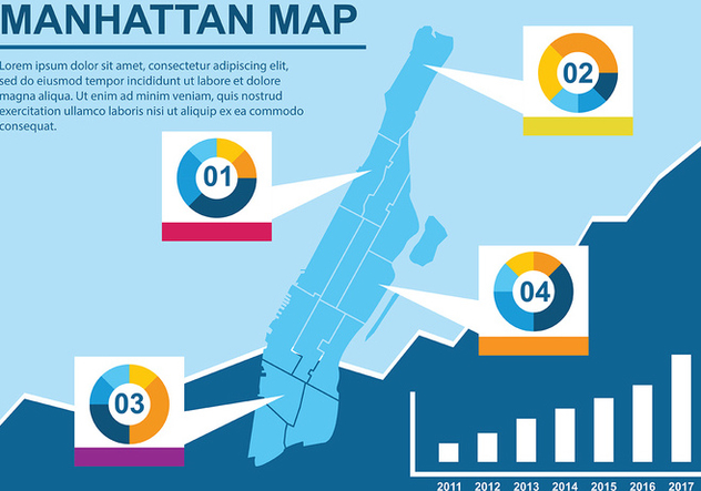 Infographic Manhattan Map Vector - vector #421459 gratis