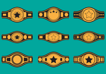 Championship Belt Icon Set - vector gratuit #421709