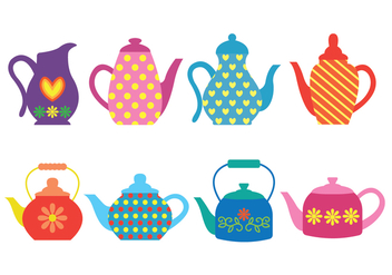 Patterned Colorful Teapot Icons - Free vector #421859