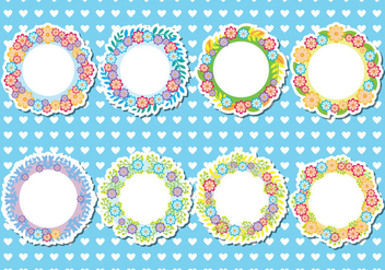Funky Floral Frames Vector - Free vector #421889