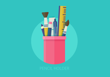 Pen Holder Flat Vector Illustration - Kostenloses vector #421909