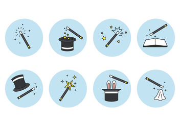 Magic Stick and Element Icons Set - Free vector #422099