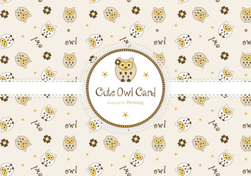 Cute Owls Greeting Card Vector - Free vector #422179