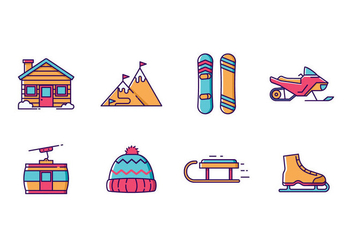 Winter Sports and Holiday Icon Pack - vector #422239 gratis