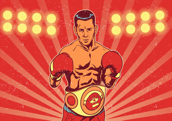 Boxer With Championship Belt In Front of Fight Lights - vector gratuit #422279