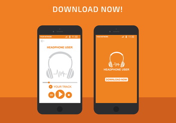 Headphone App Interface Vector - бесплатный vector #422349