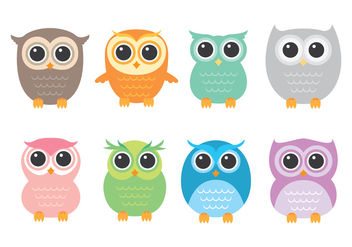 Cute Vector Buho Icons - vector #422389 gratis