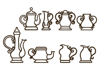 Simple Teapot Vectors - vector gratuit #422559