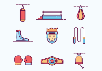 Free Outlined Boxing Icons - vector #422829 gratis