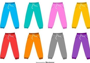 Sweat Pants Flat Vector Silhouettes - бесплатный vector #422859