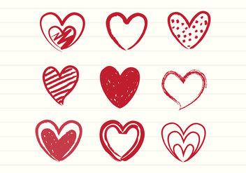 Free Hand Drawn Sketch Heart Vectors - vector gratuit #422899