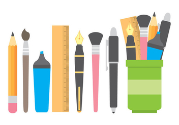 Pen Holder With Stationery Icons - vector gratuit #422999