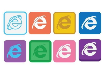 Flat icon internet explorer set - vector gratuit #423009